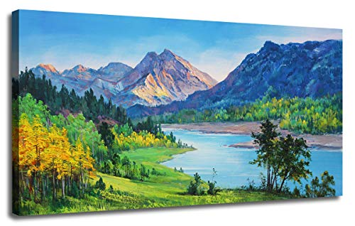 Ardemy Canvas Wall Art Nature Mountain Blue Stream Scenery Painting, Landscape Green Teal Panoramic Picture Artwork Framed for Home Office Living Room Bedroom Wall Decor One Panel 40'x20'