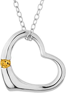 Open Heart Pendant Necklace with Citrine in Sterling Silver with chain