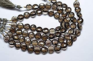 Jewel Beads Natural Beautiful jewellery 8 Inch 12mm 1mm Hole Vivid Smoky Quartz Faceted Coin Shape Briolette Beads StrandCode:- JBB-33482