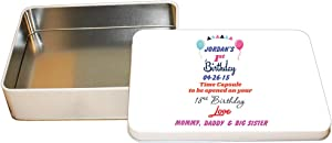 """Style In Print Personalized Custom Text Birthday First Birthday Time Capsule Aluminun Trinket Box Metal Tin - 6""""x8"""""""