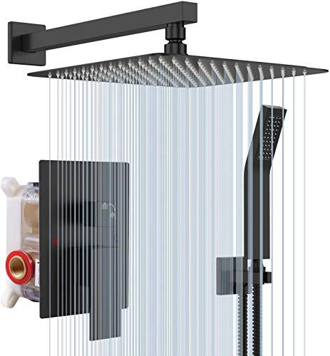 Sistema de ducha de lluvia S R Sunrise en negro mate, Advanced Air Injection Technology, 30 cm x 30 cm, cabezal de ducha de lluvia cuadrado, fácil instalación, acero inoxidable y latón