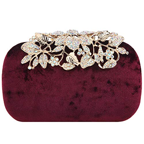 Fawziya Flower Clutch With Rhinestones Velvet Clutches For Women-Maroon
