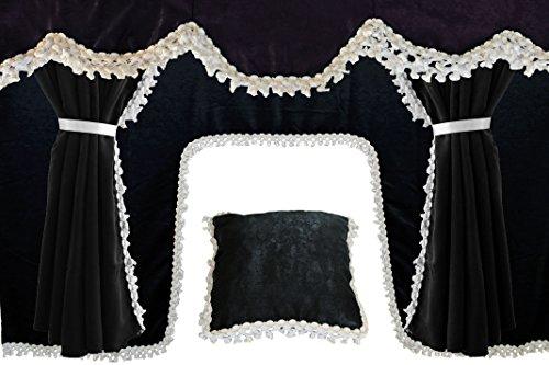 AutoCommerse - Juego de 5 cortinas de satén con borlas blancas, visera frontal + 2 ventanas laterales + cojín + cortina de túnel universal para camiones HGV camión, color negro