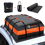 MeeFar Car Roof Bag XBEEK Rooftop top Cargo Carrier Bag 20 Cubic feet Waterproof for All Cars with/Without Rack, Includes Anti-Slip Mat, 10 Reinforced Straps, 6 Door Hooks, Luggage Lock