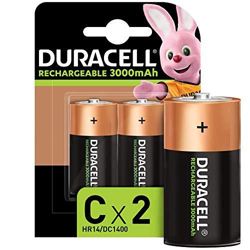 Duracell Recharge Ultra Piles Rechargeables type C 3000 mAh, Pack de 2 piles