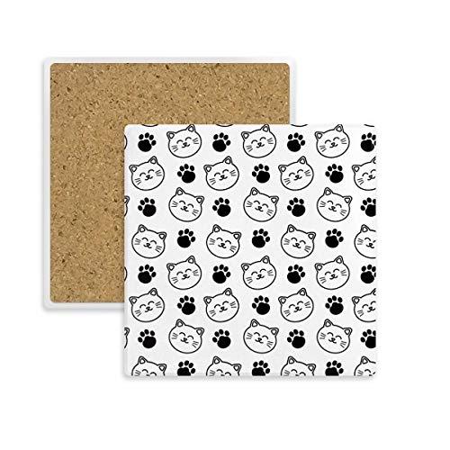 Posavasos cuadrado de huellas sonrientes para gatos y mascotas, con piedra absorbente...