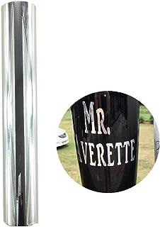 Hoja de vinilo adhesivo permanente de color plateado y oro rosa cromado brillante para silueta de vasos, camafeo y manualidades, 30 cm x 152 cm plata