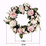 LinTimes Türkranz Wandkranz, handgefertigte Kunstblumendeko für Zuhause, Parties, Türen, Hochzeiten - 6