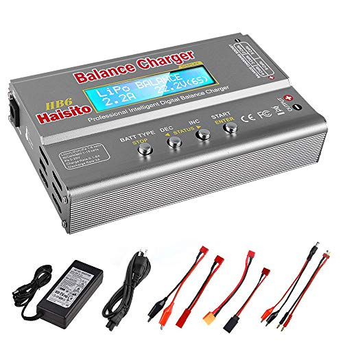 Haisito Balance Ladegerät 80W 6A Lipo Ladegerät für LiPo / Li-Ion / Life Akku (1-6S), NiMH / NiCd (1-15S), RC Hobby Ladegerät LED W / AC Power Adapter