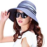 SIGGI Mujer Sombrero Plegable De Paja Panamá Verano Sol Ala Ancha Voltear hacia Arriba/Abajo Playa Uv Moda Azul marino