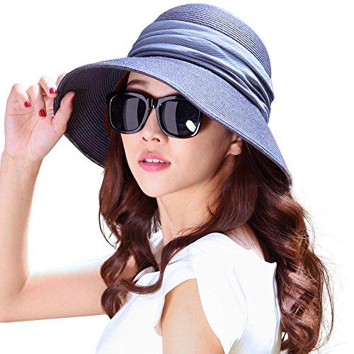 Comhats SIGGI klappbarer Sonnenhut dunkelbaluer Sommerhut Sun Shade Hut Sonnenschutz mit für Frauen mit breite Krempe