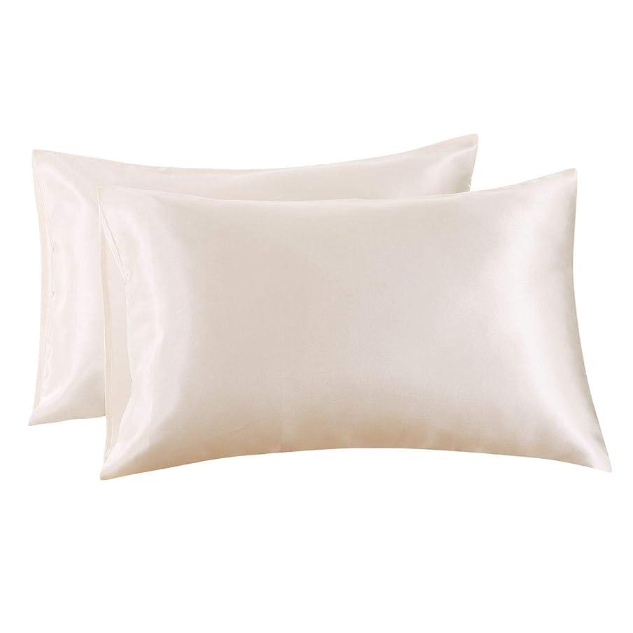 Ethlomoer 高級 滑らか サテン 枕カバー 髪と肌用 柔らかく通気性あり 封筒式開閉部 クイーン ベージュ Satin-Pillowcase