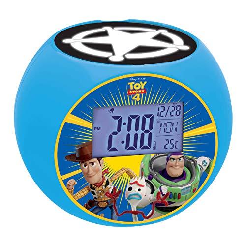 Disney Toy Story Woody & Buzz - Radio Despertador con proyección de Imagen y función quitamiedos, Efectos de Sonido, Hora Digital, Azul (Lexibook L975TS)