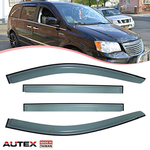 AUTEX 4Pcs Tape On Window Visor Deflector Compatible with Dodge Grand Caravan 2008 2009 2010 2011 2012 2013 2014 2015 2016 2017 Sun Shade