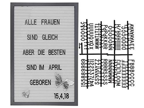 Bada Bing DIY Letterboard Grauer Bilderrahmen Ca. 45 x 30 cm Mit 144 Buchstaben und Zahlen Rahmen 12