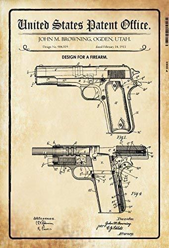 US Patent Pistole Pistol Browning 1911 Blechschild Schild Blech Metall Metal Tin Sign 20 x 30 cm P0083