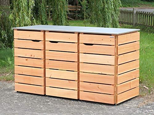 3er Mülltonnenbox / Mülltonnenverkleidung 240 L Holz, Deckend Geölt Nordisch Rot - 2