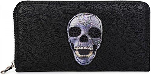 styleBREAKER Geldbörse mit Totenkopf Applikation und Strass, umlaufender Reißverschluss, Portemonnaie, Damen 02040053, Farbe:Schwarz