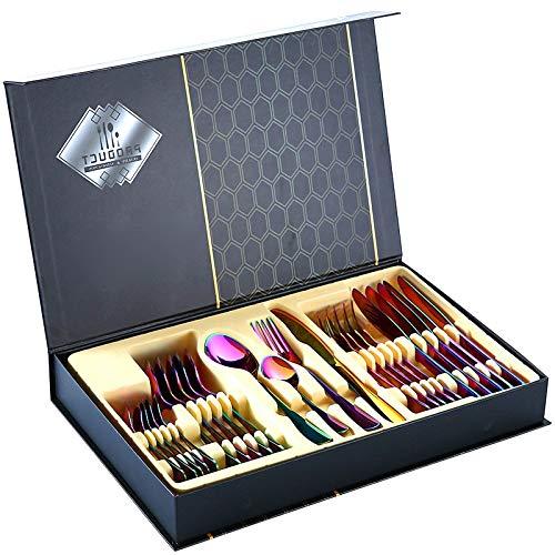 SHATANG Cubertería de 24 piezas, cubiertos en caja de 24 piezas, cuchillo portugués, tenedor, cuchara, caja de regalo dorada