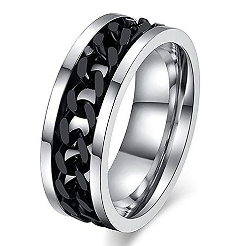 Amesii, anello punk a fascia con catena incastonata in acciaio inox unisex e Lega, 22, colore: Nero , cod. AME