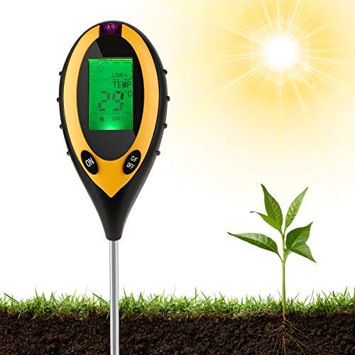 Lueigmo 4-in-1 Bodentester, Feuchtigkeitsmessgerät Pflanzen, PH Wert Messgerät Boden, Temperatur PH Lichtintensität Bodenfeuchte PH Große LCD Anzeige für Garten, Bauernhof, Pflanzenerde, Rasen