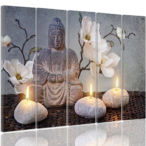Feeby Frames, Cuadro en Lienzo - 5 Partes - Cuadro impresión, Cuadro decoración, Canvas Tipo C, 200x100 cm, Buda, Cultura, Velas, Flores, Zen