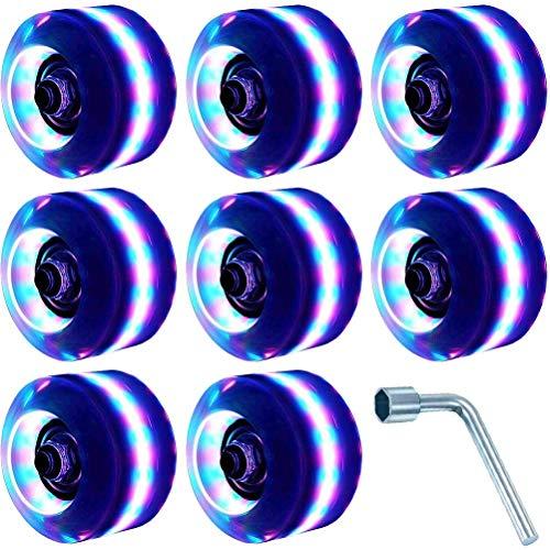 KENANLAN 8 Stück Rollschuh-Räder, Leuchtend, Skateboard-Räder, Ersatz-Roller, Inline-Skate-Rollen, Blitz für zweireihiges Skaten und Skateboard, Härte 82 A