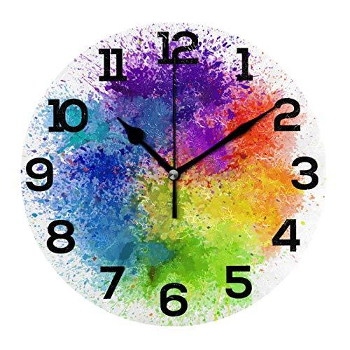 AMONKA Reloj de pared acrílico colorido abstracto de acuarela teñido anudado redondo sin tictac, silencioso, para decoración del hogar, sala de estar, cocina, dormitorio, oficina, escuela