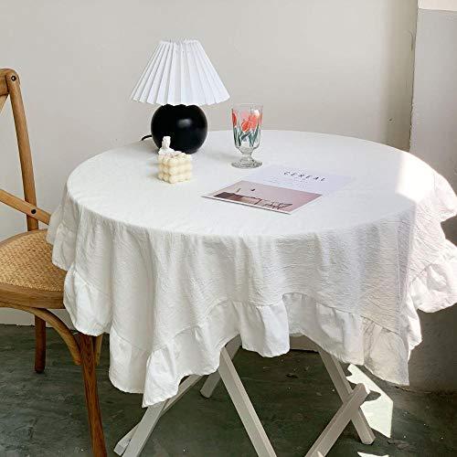 Kuingbhn Mantel Mesa Rectangular Lavable Retro Pleated Cotton para Cocinas Exteriores o Interiores White 140×260cm