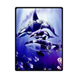 Custom Orca Killer Whales Unique Bed/Sofa Soft Throw Blanket 58x80inch (Large)