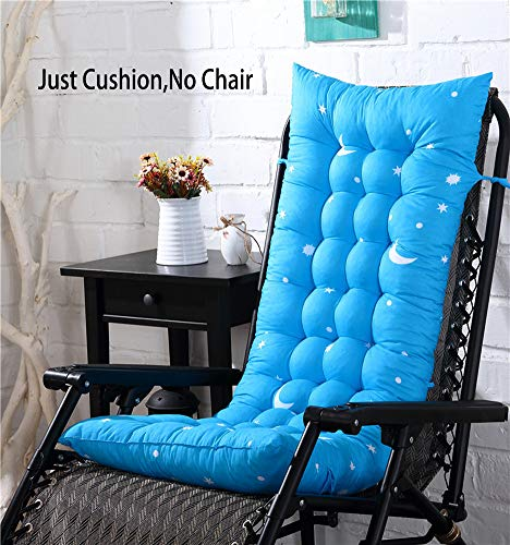 Coussin de chaise à dossier haut - Antidérapant - Pliable - Lavable - Universel - Pour chaise à bascule - Bleu ciel - 125 x 48 x 8 cm