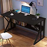 MeButiko 【US Stock】 Simpleness Home Desk Student Writing Desktop Desk Modern Economic Computer Desk with Bookshelf Storage, Home Office Workstation Bedroom Study and Other