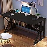US Stock - 47.2 inch Computer Desk with Storage Shelf Bookshelf, Home Office Writing Desktop Desk Modern K-Shaped Metal Legs PC Laptop Table (Black)