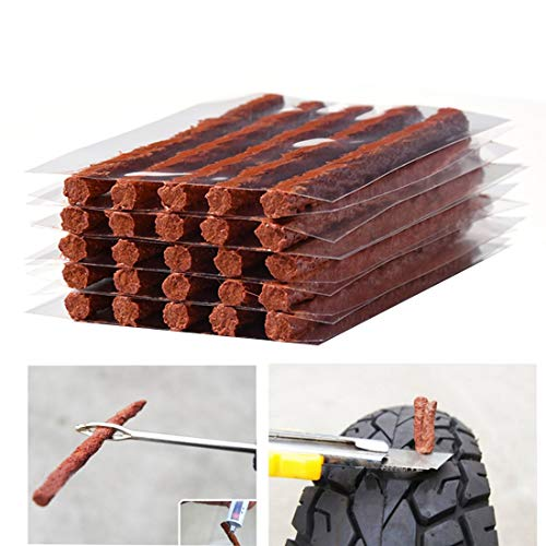 Firwood Flat Tire Plug Puncture Repair Strings, Tyre Repair Rubber Sealing Strip 8.5'' Extra Length for Off-Road Car Bike Motor ATV UTV SUV Wheelbarrow Mower 25PCS (Flat Tire Plug String)