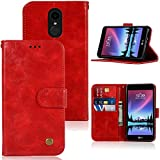 LG Aristo Case, K8 2017 /Phoenix 3 /Fortune/Rebel 2 LTE/Risio 2 /K4 2017 Case, Zoeirc PU Leather Wallet Flip Protective Phone Case Cover with Card Slots and Stand for LG K4 (2017) (red)