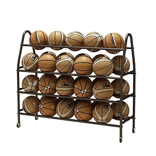 JLXJ Ballwagen Ballregal 4-stufige Basketballständer mit Rädern, Großer Schwarzer Balls Display-Standwagen Stand für 35 Bälle (offizielle Basketbälle Der Größe 7), Garagen-Volleyball-Halter