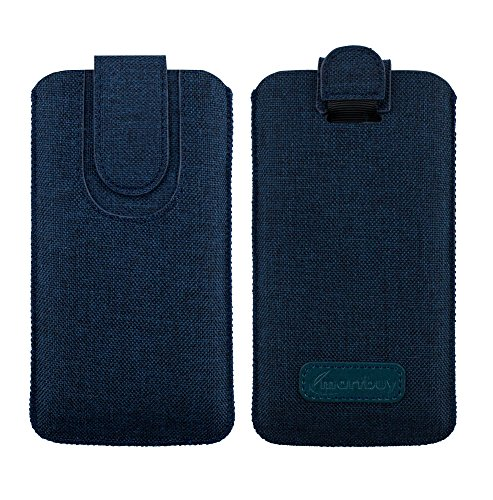 emartbuy Dunkelblau Premium Textured Stoff Slide in Pouch Hülle Cover Hülsenhalter Hulle (Size LM4) mit Pull Tab Mechanismus Kompatibel mit Smartphones Aufgeführt Unten