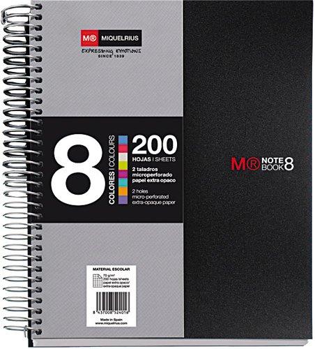 "Miquelrius Premium A5 8-Subject Spiral Notebook, Graph Pages, Black (6"" x 8"")"