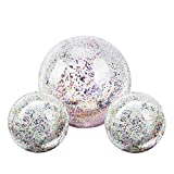 MoKo Inflatable Beach Balls, (3 Pack) Glitter Pool Ball Floatable Swimming Balls Confetti Ball for...