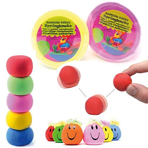 L+H 24x Springknete Hüpfknete für Kinder im Set   Farbige Springknete ideal als Mitgebsel Mitbringel oder Gastgeschenk für den Kindergeburtstag
