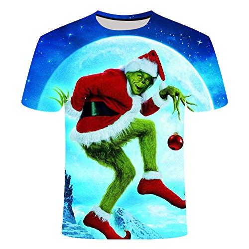 T-Shirt Herren Sommer Grinch T-Shirt 3D Druck Weihnachten Kurzarm Casual Mode Junge Mädchen Kind Straße Kleidung (B,M)