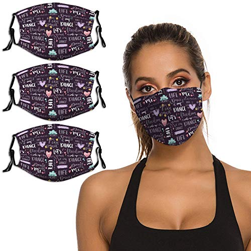 Lettering Love Dance and Music Quote Purple 3PCS Face Mask with Adjustable Ear Loops & Nose Clip, Cloth Reusable Face Protection with Filter Pocket, Men Women Scarf Bandana