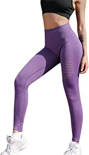 Qootent Women High Waist Leggings Sport Yoga Pant Casual Elastic Hollow Trouser