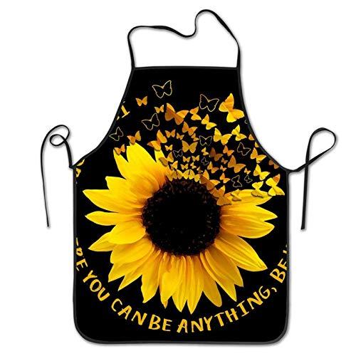 Ahdyr Delantal de Cocina Unisex Delantal de Mariposa de Girasol Amarillo Delantales de Babero Divertidos para Hombres Mujeres Cocina Delantal de Cocina para Hornear