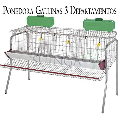 Suinga Bateria GALLINAS PONEDORAS 3 departamentos. Capacidad 15 gallinas. Medidas 155 x 70 x 95 cm. Incluye: Protector Anti-Desperdicio. Comedero Fabricado en Chapa lacada.