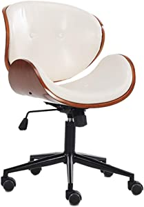 Roll-ff Leather Office Chair Adjustable Built-in Lumbar Support and Tilt Angle High Back Executive Computer Desk Chair for Office Workers and Students  Color