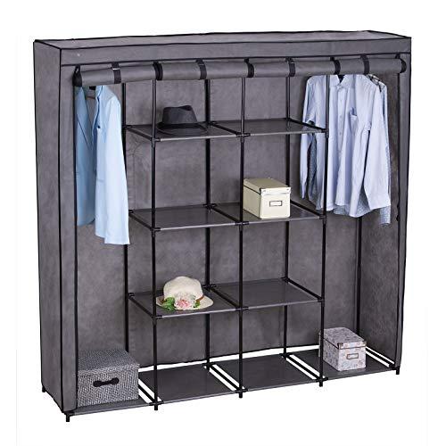 eSituro SCC0014 Kleiderschrank Stoffkleiderschrank Faltschrank Wäscheschrank mit Kleiderstange mit hochrollbare Türen Garderobenschrank