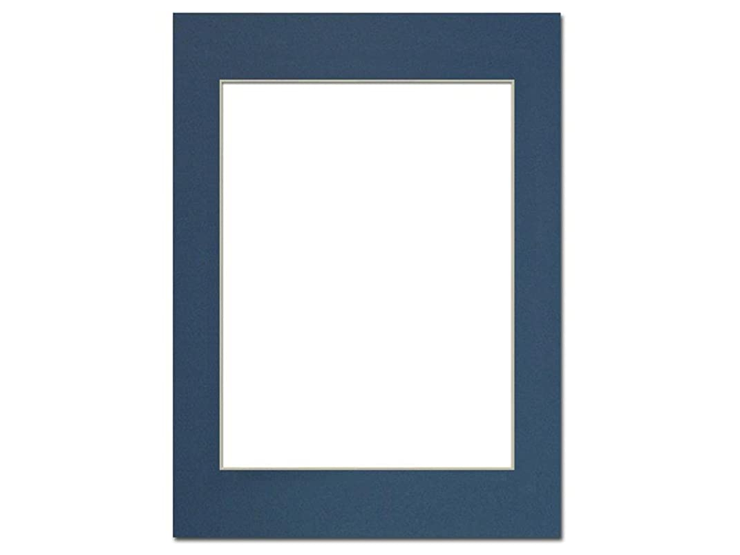 PA Framing, Photo Mat Board, 12 x 16 inches Frame for 9 x 12 inches Photo Art Size - Cream Core/Bottle Blue