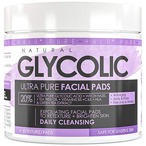 Ultra Pure Glycolic Acid 20% Exfoliating Pads - Brighten & Resurface Skin - Facial Cleansing Pads with HLA - Reduce Acne, Breakouts, Fine Lines & Wrinkles, Scars, Pores While Correcting Dark Spots