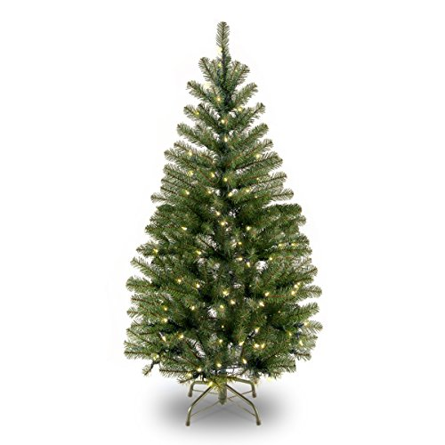 National Tree Company Pre-lit Artificial Christmas Tree | Includes Pre-strung White Lights and Stand | Aspen Spruce - 4 ft